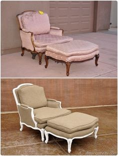 Wow, what a difference! How to re-upholster and paint furniture, pretty great tutorials!