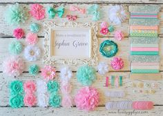 DIY Headband Making Kit Aqua and Pink - First Birthday Party - Baby Shower Headband Station - MAKES 25+ HEADBANDS! by LuxeSupplyCo on Etsy https://www.etsy.com/listing/231953754/diy-headband-making-kit-aqua-and-pink