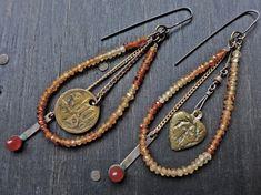 "Artisan earrings with gemstones- ""Priestess of Valor"""