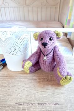 Artist teddy bear from Scotland, hand knitted plush stuffed animal, Scottish gifts for teddy bear lovers, hand knitted toys Creative Knitting, Easy Knitting, Teddy Bear Gifts, Scottish Gifts, Housewarming Gifts, Teddybear, White Gift Boxes, Scottish Highlands, Creative Gifts