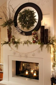 candles in fireplace and great mantle decorations