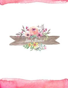 Binder cover template with floral watercolor - editable & free