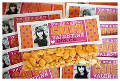 Cute valentine for classroom....could even use the prepackaged goldfish.  Could use as party favor for v- diff wording. @amanda Pursch could redo ;-)