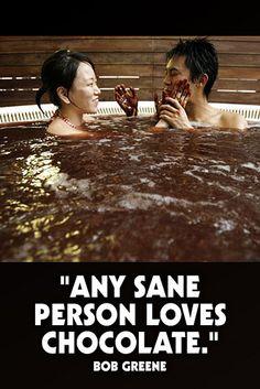 """Any sane person loves chocolate."" - Bob Greene  www.dark-chocolate-diet.com"