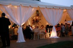 Night Time Tented Wedding Reception with Lighting