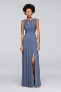 Gray Long Bridesmaid Dress Features A Lace Bodice An Illusion Neckline With Cap Sleeves Ribbon Defined Waist And Fluid Mesh Skirt