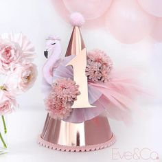 {CUSTOM STATIONERY} Isn't this first birthday flamingo party hat for Leah just divine? This couture creation was made by…