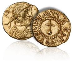 Anglo-Saxon gold Shilling of King Eadbald of Kent dating from c.620-635. This is the first gold coin struck in the name of an English King.
