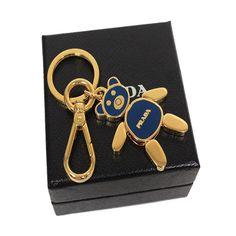 Prada Teddy Bear Blue Gold Metal Women's Key Chain 1PS399