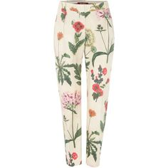 Max Mara Alton floral print trousers (£83) ❤ liked on Polyvore featuring pants, beige, clearance, white pants, cigarette trousers, floral pants, floral print trousers and beige pants