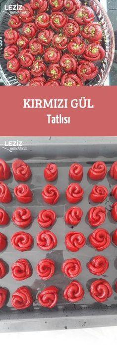 Kırmızı Gül Tatlısı Turkish Recipes, Dessert Recipes, Desserts, Frozen Yogurt, Yummy Cakes, Beautiful Cakes, Fish Recipes, Sausage, Food And Drink
