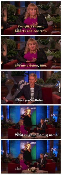 Rebel Wilson on her family members' names...oh my...