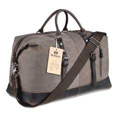 77312ea0aaf Canvas Duffel Tote Bag Travel Weekend Handbag Genuine Leather Luggage  Coffee New