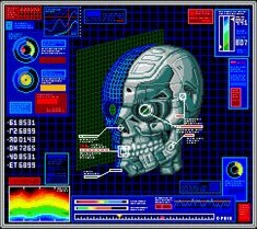 Animated Gif of The Day: Cyber Skull Diagnostics Cyberpunk, The Crow, Vaporwave, Pixel Animation, Blade Runner, Retro Waves, Emotion, Arte Horror, Aesthetic Gif