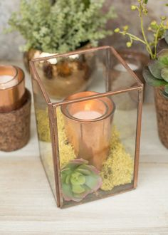 Fill this terrarium with a copper colored candle holder, votive candle and moss for your cafe centerpieces.