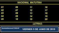 Quiniela Nacional Matutina Viernes 5 de Junio de 2015. Fuente: http://quinielanacional.com.ar Pizarra de sorteo desarrollado en el recinto de la Loteria Nacional a las 14:00 horas. La jugada Matutina se efectuó con total normalidad.