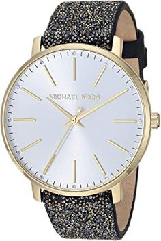 Michael Kors Women's Stainless Steel Quartz Watch with Leather Calfskin Strap Breitling Watches Women, Cool Watches For Women, Big Face Watches, Burberry Watch, Beautiful Watches, Fashion Watches, Women's Fashion, Stainless Steel Watch, Quartz Watch