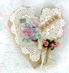 Shabby Chic Heart Decoration by tatteredtiaras on Etsy Wooden Hearts Crafts, Heart Crafts, Shabby Chic Hearts, Romantic Shabby Chic, Valentine Heart, Valentines Diy, Fabric Hearts, Lavender Bags, Heart Pillow