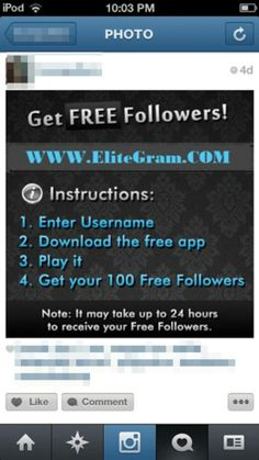 Instructions for instagram Free Followers On Instagram, Free Instagram, Follow Me On Instagram, 100 Free, Social Networks, How To Get, App, Apps, Social Media