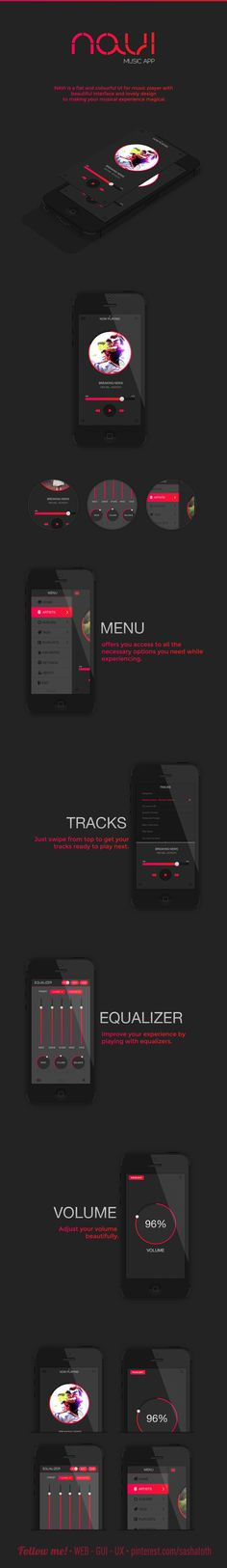 NAVI - Music App   NAVI is a flat and colourful UI for music player with  beautiful interface and lovely design  to making your musical experience magical.   Designer: Mansoor MJ