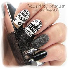Nail Art by Belegwen: Gina Tricot White (stamping plate is from Pueen), Golden Rose 60 and A England Camelot