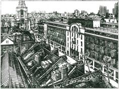 """Fruit & Wool Exchange, Spitalfields - """"Viewed from the top of Spitalfields Market, the dignified Wool and Fruit Exchange stood in Brushfield St since 1927, yet today only a part of the facade remains."""""""