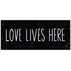 "'Love Lives Here' Canvas Print by Michael Mullan, 14"" x 32"" ($115) ❤ liked on Polyvore featuring home, home decor, wall art, backgrounds, text, words, quotes, fillers, doodle and picture frame"