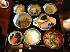 Traditional Japanese Breakfast at the Cool Japanese inn, Nunoya, Kyoto