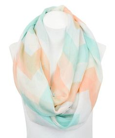 Another great find on #zulily! Leto Collection Mint & Peach Chevron Infinity Scarf by Leto Collection #zulilyfinds