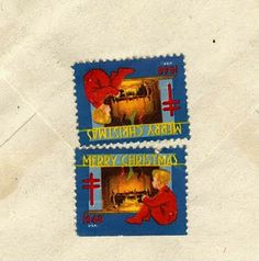 A Surprise Inside: From Brooklyn! Christmas stamps. www.bookdecor.com