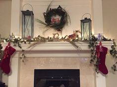 Holiday decorating with lanterns on the mantel