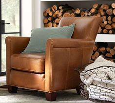 """Irving Leather Armchair #potterybarn Nana's Favorite Chair (and Brother, Molly and Maggie""""s)"""