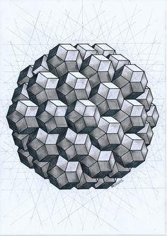#solid #polyhedron #geometry #symmetry #mathart #regolo54 #pentagon #penrose #pastel #ink #handmade #escher #pattern Geometric Quilt, Geometric Sleeve, Geometric Drawing, Geometric Designs, Geometric Shapes, Sacred Geometry Art, Math Art, 3d Drawings, Mandala Painting