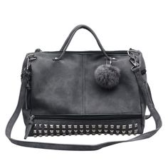 8846bbcbdfdc Large capacity of artificial leather female top-handle bags rivets more For women  bags hair ball bag motorcycle bag