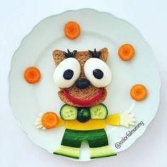 Jongleur cat loves his job. Fun Snacks For Kids, Kids Meals, Cute Food, Good Food, Food Set Up, Veggie Snacks, Edible Food, How To Eat Better, Food Humor