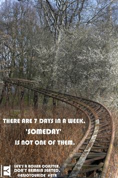 There are 7 days in a week. 'SOMEDAY'  Is not one of them.  Life's a roller coaster. Don't remain seated. @ENJOYOURIDE #EYR www.looseleafbrands.com