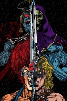 Team Heman or Team Thundercats? Art by Anthony Petrie Cartoon Logo, Cartoon Tattoos, Cartoon Art, Gi Joe, He Man Thundercats, Old School Cartoons, 90s Cartoons, Video X, Man Vs