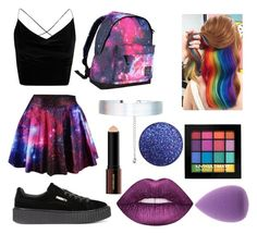 """rainbow galaxy outfit"" by danielagomezdg on Polyvore featuring Boohoo, Hot Tuna, Puma, Accessorize, NYX, Hourglass Cosmetics and Lime Crime"