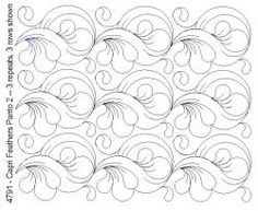 Capri Feathers Panto 2 - several pretty panto designs on this page. Quilting Stencils, Quilting Templates, Longarm Quilting, Free Motion Quilting, Quilting Tutorials, Quilting Ideas, Machine Quilting Patterns, Quilt Patterns, Whole Cloth Quilts