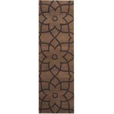 Herat Oriental Indo Hand-tufted Tibetan Light Brown/ Brown Wool Runner (2'6 x 8')