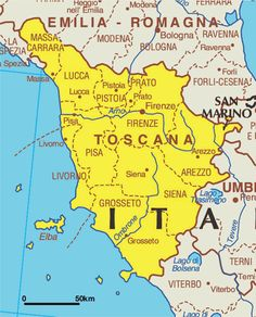Map of Tuscany Italy Map of Tuscany PlanetWare Pinteres