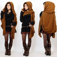 """Danae"" hooded cape, Rusty Yggdrazil ""Danae"" pullover hood scarf : it would be added to all your dresses and keep you warm ! Fairy, boho and gypsy look ! Gypsy Look, Gypsy Style, Boho Gypsy, Mode Style, Style Me, Looks Country, Hooded Scarf, Hooded Capes, Hooded Dress"
