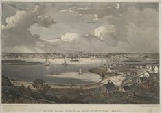 """View of the town of Gloucester, Mass"" lithograph by Fitz Henry Lane printed by Pendleton's Lithography in 1836. #gloucesterma"