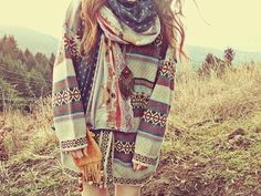 Hipster sweater fashion hair girl outdoors hipster sweater scarf