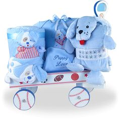 Puppy is Baby Boy's Best Friend Deluxe Wagon Price: $155.00 #GiftBaskets4Baby #Boys #gifts #giftbaskets #Baby For more information visit: www.GiftBaskets4Baby.com