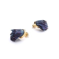 Windswept earrings: anodised titanium, sterling silver with gold plate  Image: James Robertson Photography