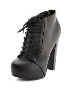 Lace-Up Platform Heel Bootie: Charlotte Russe - I really would love to have a pair of these, when I want dress a pair of jeans.