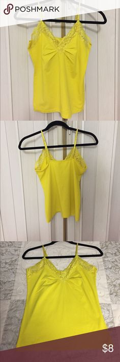 Old Navy Yellow Lace Tank. Recent price drop! 👚🎉 Old Navy Yellow Lace Tank. Stretchy with pretty Lace trim. Great summer piece. Old Navy Tops Tank Tops