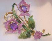 Large 1930s Vintage Enameled Floral Pot Metal Brooch (Purple, Green)