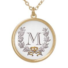 Vintage Wreath Personalized Monogram Initial Gold Custom Jewelry